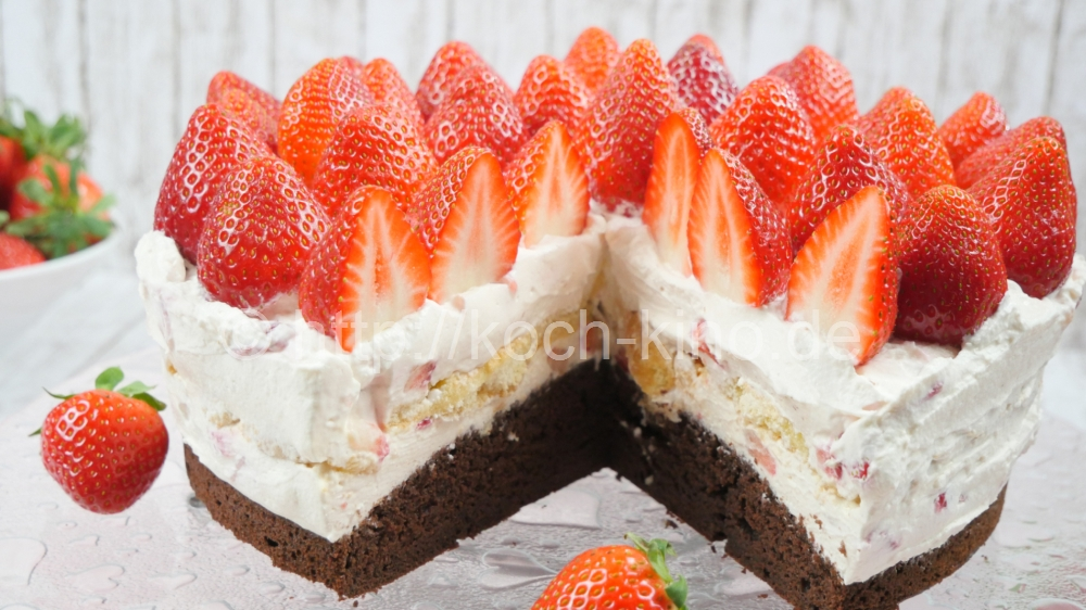 Rezept Erdbeer Tiramisu Torte I Erdbeer Mascarpone Torte I