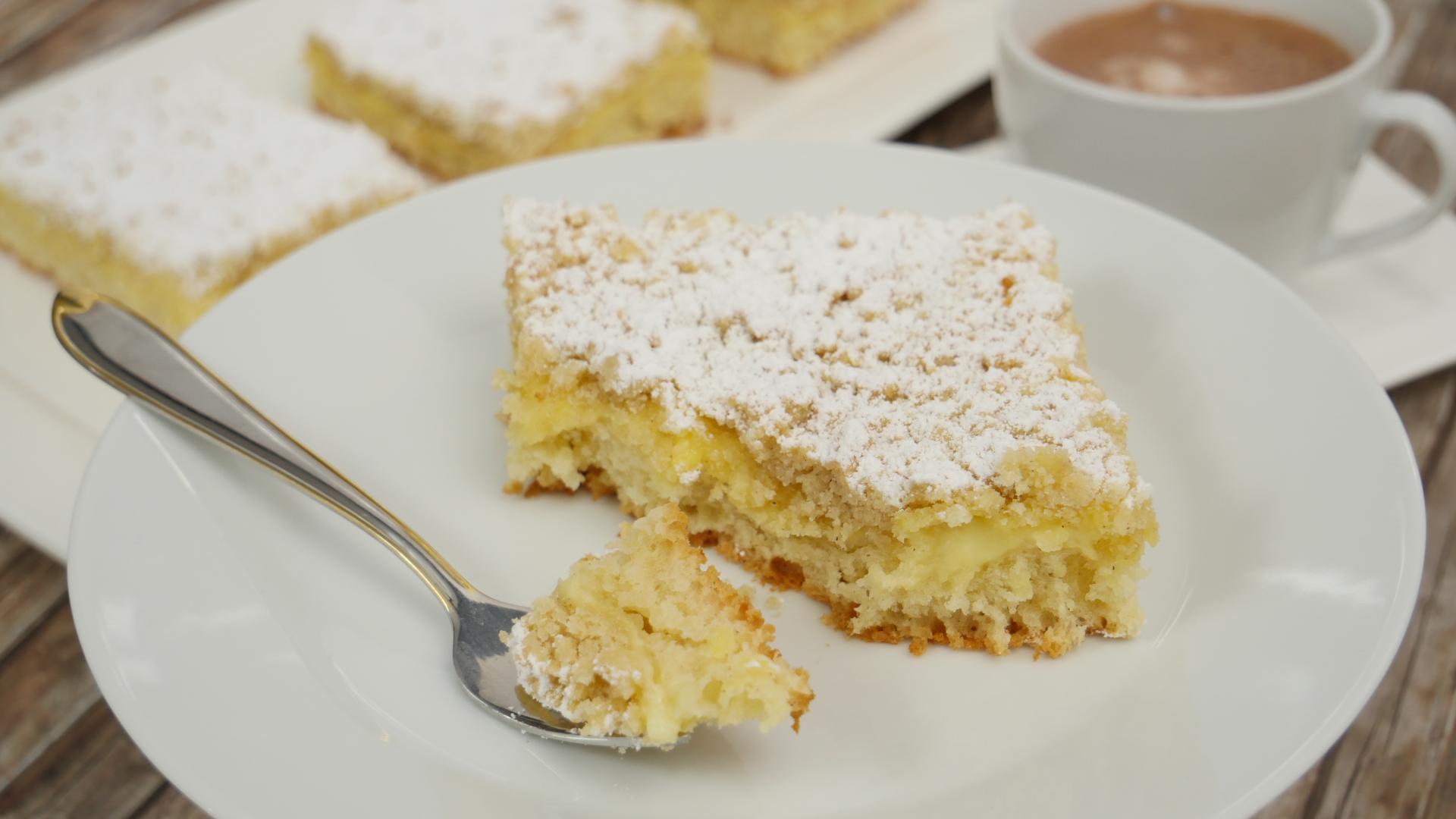 Rezept Streuselkuchen Mit Pudding Vom Blech I Blechkuchen I Pudding